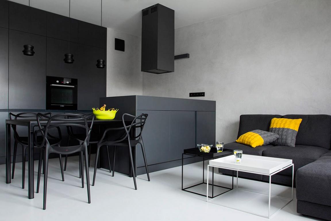 Дизайн стен с черно белой кухней